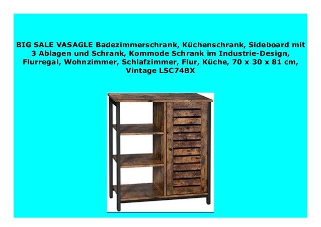 70 x 30 x 81 cm Vintage LSC74BX Flur Wohnzimmer Flurregal Schlafzimmer K/üchenschrank Kommode Schrank im Industrie-Design K/üche Sideboard mit 3 Ablagen und Schrank VASAGLE Badezimmerschrank