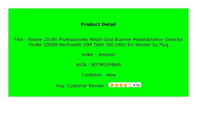Eboxer 2018V Professionelle Metall Gold Scanner Metalldetektor Detector Finder 1000M Reichweite 20M Tiefe 100-240V EU-Stecker Eu Plug