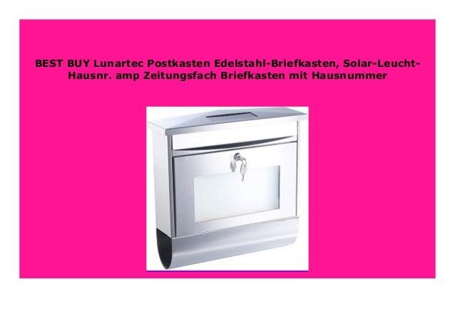 Solar-Leucht-Hausnr Postkasten Edelstahl-Briefkasten /& Zeitungsfach