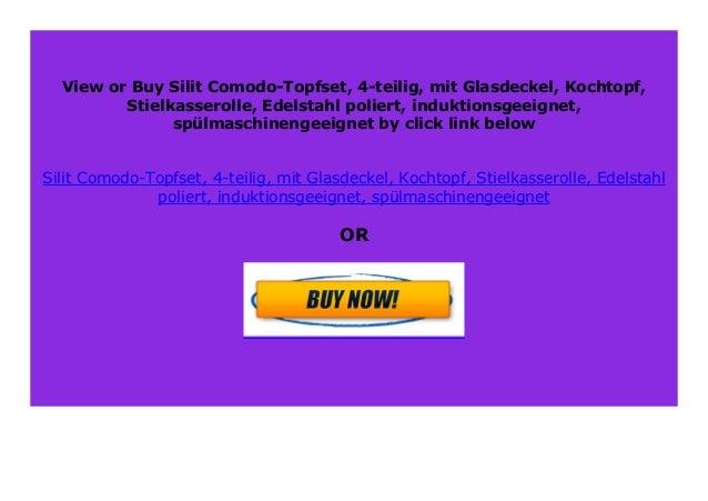 Edelstahl poliert Stielkasserolle induktionsgeeignet mit Glasdeckel sp/ülmaschinengeeignet Silit Comodo-Topfset Kochtopf 4-teilig