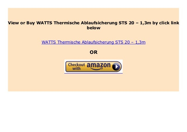 Thermische Ablaufsicherung STS 20.S  WATTS