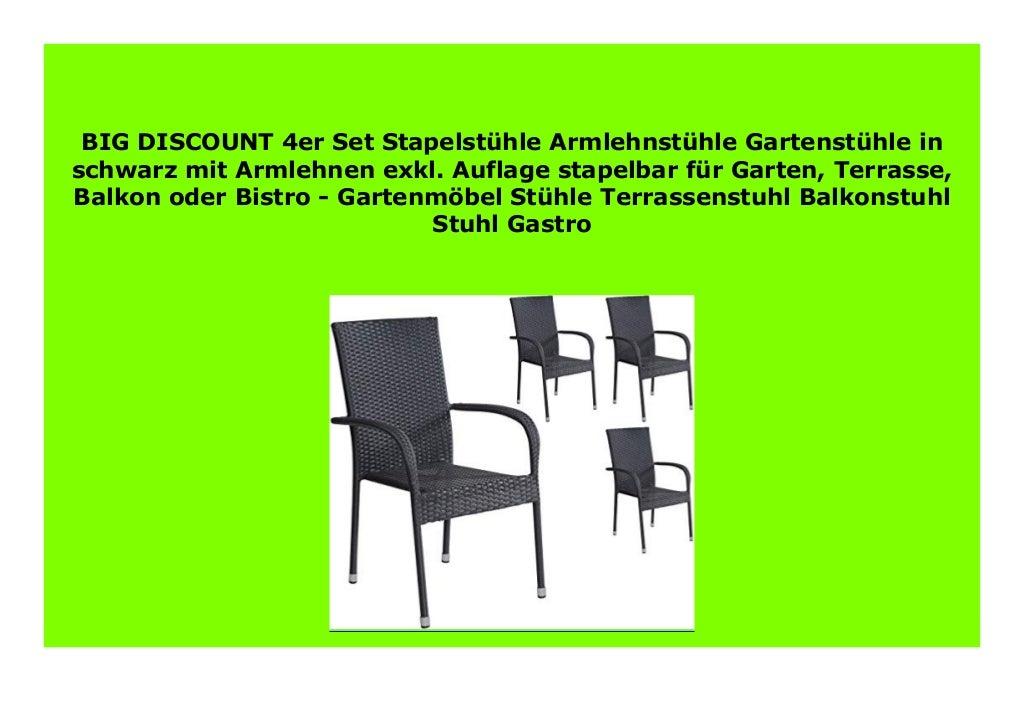 BEST BUY 4er Set Stapelst hle Armlehnst hle Gartenst hle in schwarz m…