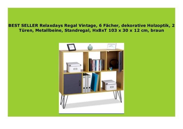 HxBxT 103 x 30 x 12 cm 2 T/üren 6 F/ächer braun Metallbeine Relaxdays Regal Vintage dekorative Holzoptik Standregal