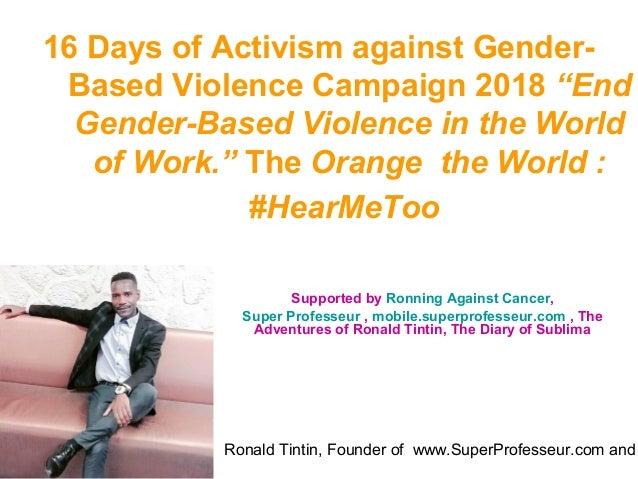 """Ronald Tintin, Founder of www.SuperProfesseur.com and 16 Days of Activism against Gender- Based Violence Campaign 2018 """"En..."""