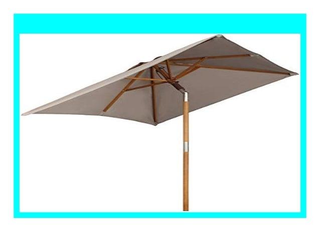 Taupe Quadratisch Sekey 200 × 150 cm Holz-Sonnenschirm Marktschirm Gartenschirm Terrassenschirm Sonnenschutz UV50