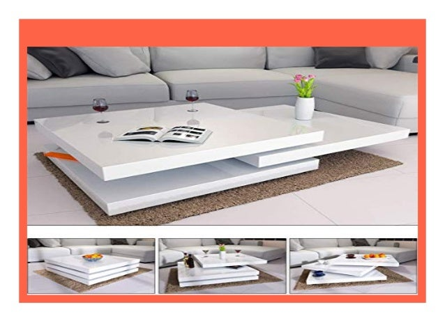 Deuba® Couchtisch Hochglanz weiß | 360° drehbar | Cube D