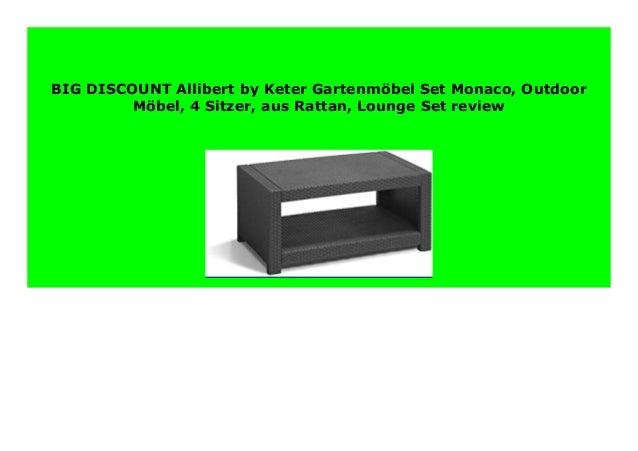 Lounge-Set Outdoor-M/öbel 4-Sitzer Allibert by Keter Gartenm/öbel-Set Monaco aus Rattan