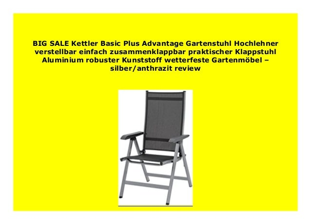 HOT SALE Kettler Basic Plus Advantage Gartenstuhl ...