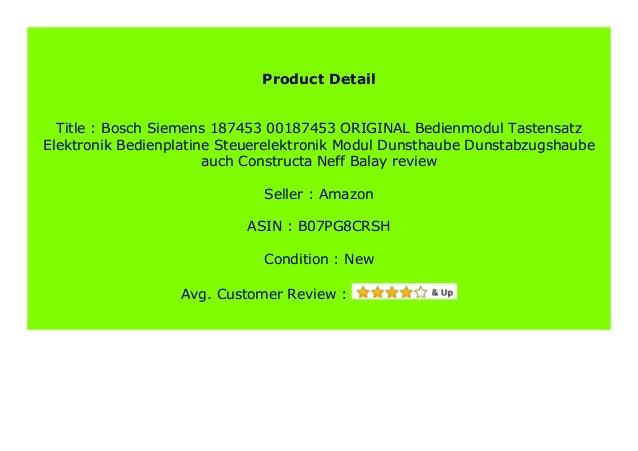 Bedienmodul Tastensatz Elektronik Dunstabzugshaube ORIGINAL Bosch Balay 187453