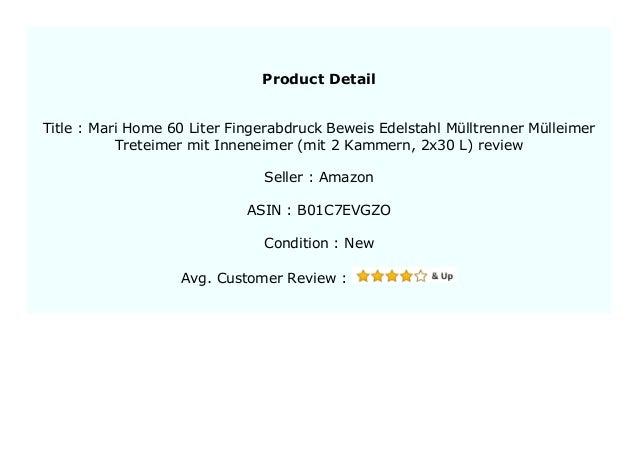 mit 2 Kammern, 2x30 L Mari Home 60 Liter Fingerabdruck-Beweis Edelstahl M/ülltrenner M/ülleimer Treteimer mit Inneneimer