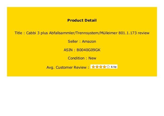 Cabbi 3 plus Abfallsammler//Trennsystem//M/ülleimer 801.1.173