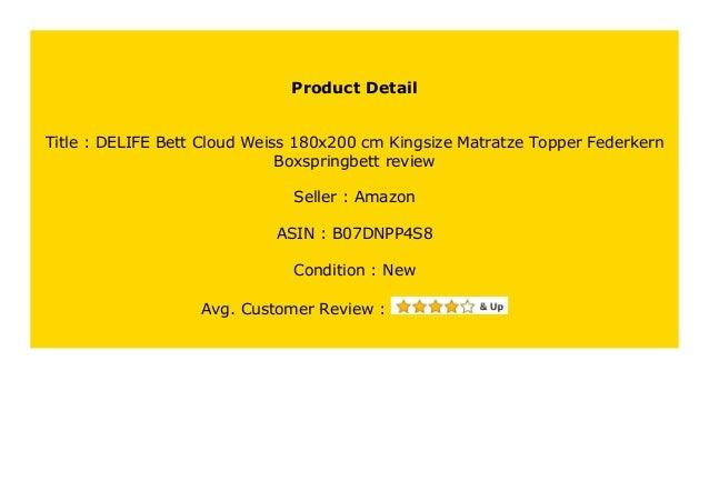 Discount Delife Bett Cloud Weiss 180x200 Cm Kingsize Matratze Topper