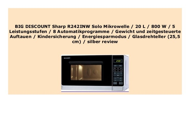 Sharp R-242 INW Solo Mikrowelle silber
