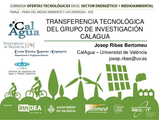 TRANSFERENCIA TECNOLÓGICA DEL GRUPO DE INVESTIGACIÓN CALAGUA Josep Ribes Bertomeu CalAgua – Universitat de València josep....