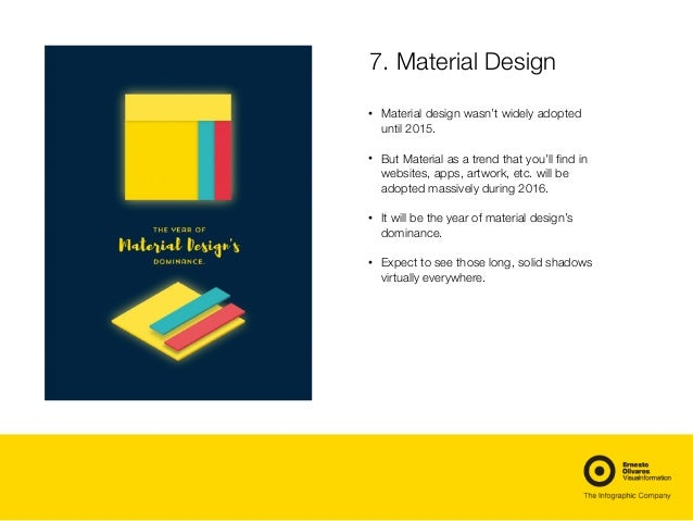 7. Material Design • Material design wasn't widely adopted until 2015. • But Material as a trend that you'll find in websi...
