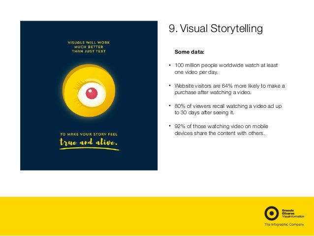 9.Visual Storytelling Some data: • 100 million people worldwide watch at least one video per day. • Website visitors are ...