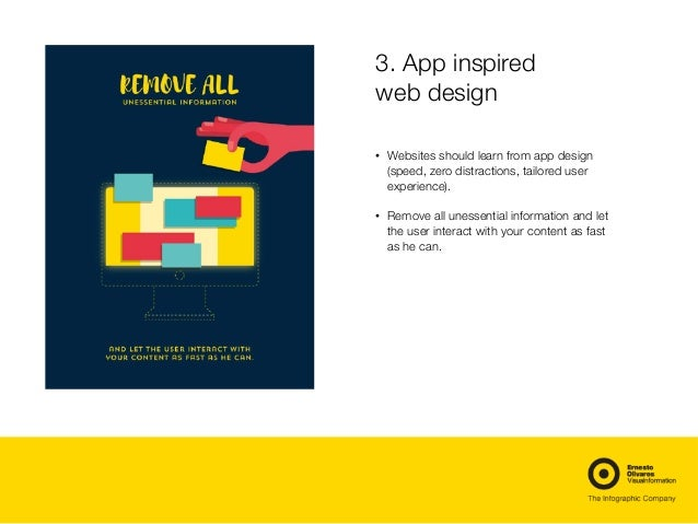 3. App inspired web design • Websites should learn from app design (speed, zero distractions, tailored user experience). •...