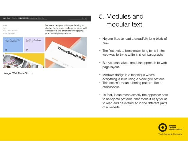 5.Modules and modular text • No one likes to read a dreadfully long blurb of text. • The first trick to breakdown long te...