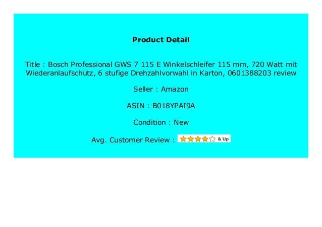 0601388203 720 Watt mit Wiederanlaufschutz 6-stufige Drehzahlvorwahl in Karton Bosch Professional GWS 7-115 E Winkelschleifer 115 mm