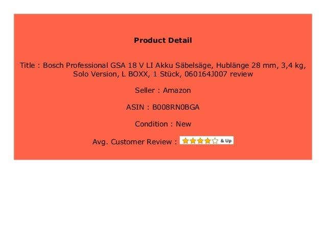 L-BOXX Bosch Professional GSA 18 V-LI Akku-S/äbels/äge 1 St/ück 3,4 kg 060164J007 Hubl/änge 28 mm Solo Version