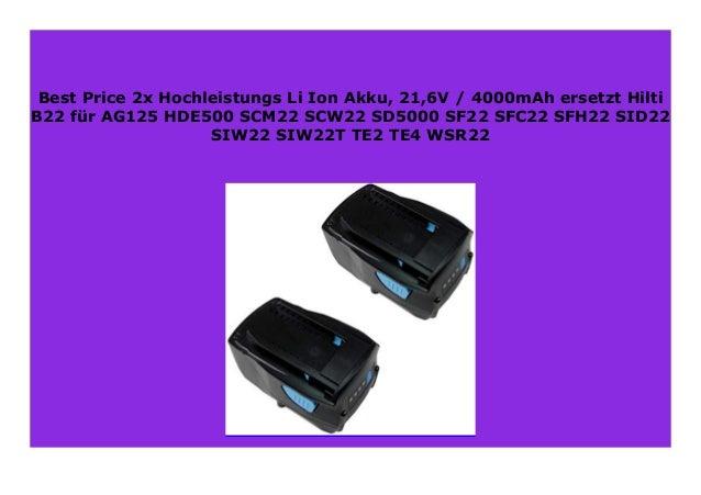2x Akku 21,6V 3000mAh für Hilti SD5000-A22 SF22-A SFC22-A SFH22-A SID22-A