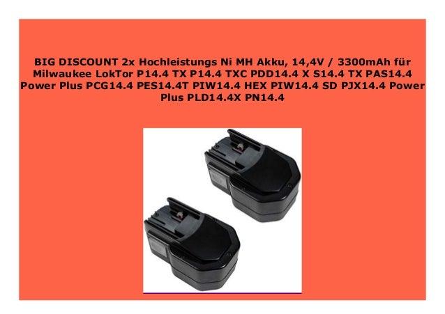 AKKU 14,4V 3300mAh für Milwaukee LokTor S14.4-TX P14.4-TXC PDD14.4-X