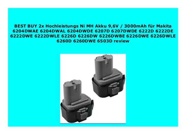 Akku für Makita 9,6V 3000mAh Ni-MH für 6204DWAE 6204DWAL 6204DWDE 6207D