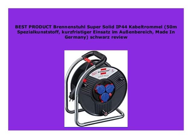Brennenstuhl Super-Solid IP44 Kabeltrommel schwarz 50m - Spezialkunststoff, kurzfristiger Einsatz im Au/ßenbereich, Made In Germany
