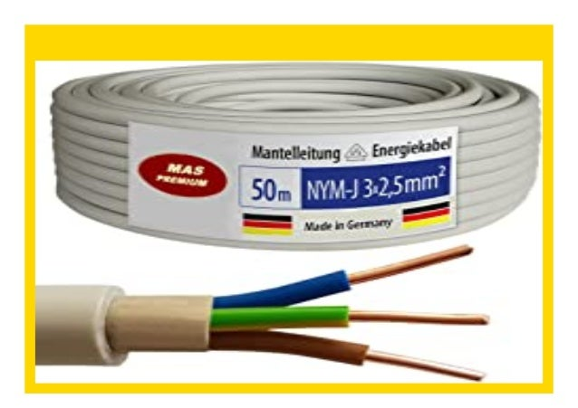 50m NYM-J 3x2,5 mm² Mantelleitung Elektro Strom Kabel OFC MADE IN GERMANY