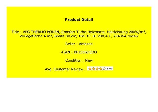 TBS TC 30 200//4 T Verlegefl/äche: 4 m/² 234364 Heizleistung: 200W//m/² Breite: 30 cm AEG THERMO BODEN Comfort Turbo-Heizmatte