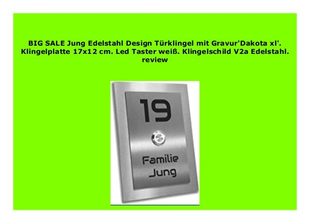 10 Fach Designer Klingel Türklingel Klingelplatte Edelstahl V2A mit Lichttaster