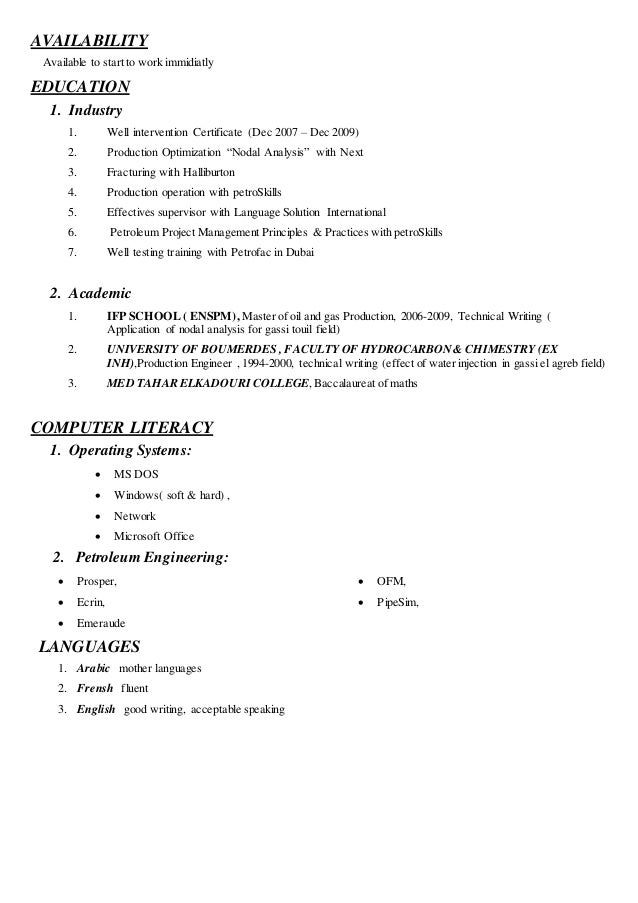Availability to work in resume