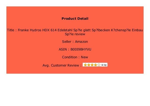 Big Sale Franke Hydros HDX 614 Edelstahl Sp?le glatt Sp ...