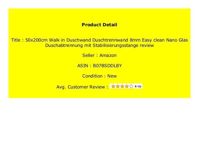 80x200cm Walk in Duschwand Duschtrennwand 8mm Easy-clean Nano Glas Duschabtrennung mit Stabilisierungsstange