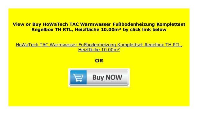 Heizfl/äche:5.00m/² HoWaTech TAC Warmwasser Fu/ßbodenheizung Komplettset Regelbox TH-RTL