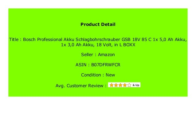 Bosch Professional Akku Schlagbohrschrauber GSB 18V-85 C 1x 5,0 Ah Akku, 1x 3,0 Ah Akku, 18 Volt, in L-BOXX