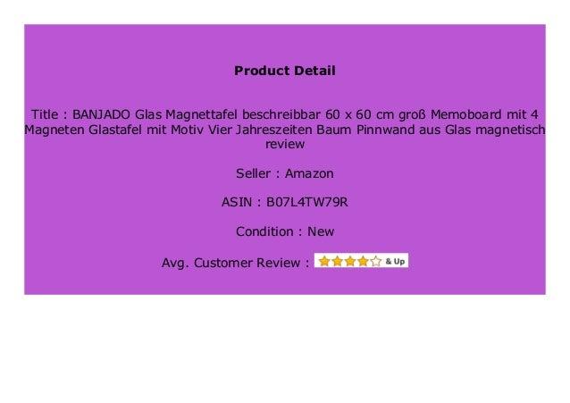 Motiv Vier Jahreszeiten Memoboard mit Magneten und Montageset Metall Pinnwand Wandtafel magnetisch 37x78cm gro/ß banjado Design Magnettafel wei/ß