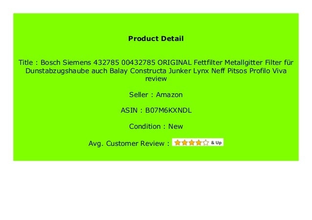 Fettfilter Dunstabzugshaube ORIGINAL Bosch Balay Constructa Pitsos Viva 00432785