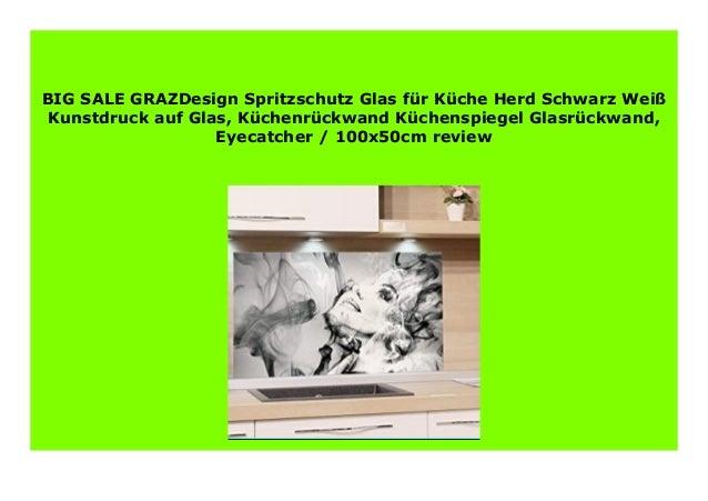 NEW GRAZDesign Spritzschutz Glas f r K che Herd Schwarz ...