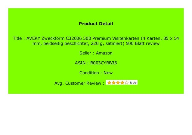 Best Price Avery Zweckform C32006 500 Premium Visitenkarten