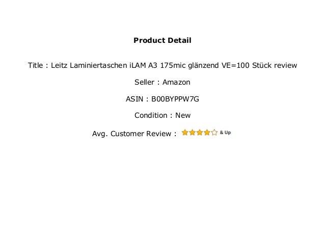 Leitz Laminiertaschen iLAM A3 175mic gl/änzend VE=100 St/ück