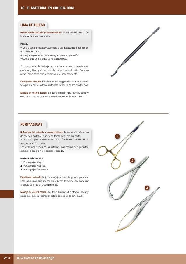 Guía práctica de Odontología214 16. EL MATERIAL EN CIRUGÍA ORAL LIMA DE HUESO PORTAAGUJAS Definición del artículo y caract...