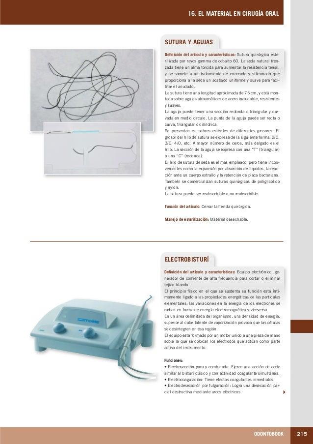 ODONTOBOOK 215 16. EL MATERIAL EN CIRUGÍA ORAL SUTURA Y AGUJAS Definición del artículo y características: Sutura quirúrgic...