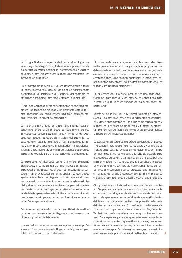 ODONTOBOOK 207 16. EL MATERIAL EN CIRUGÍA ORAL El instrumental es el conjunto de útiles manuales dise- ñados para ejecutar...