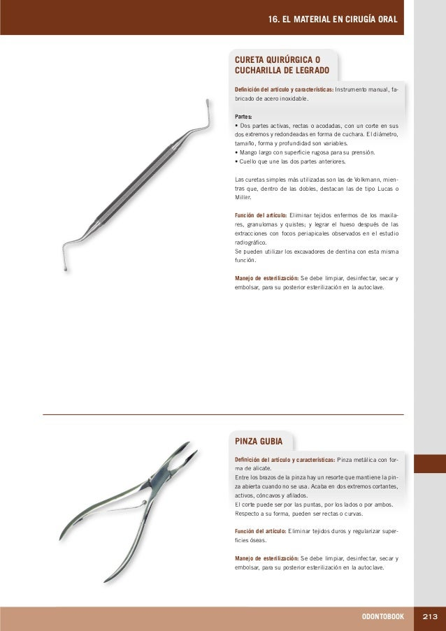 ODONTOBOOK 213 16. EL MATERIAL EN CIRUGÍA ORAL CURETA QUIRÚRGICA O CUCHARILLA DE LEGRADO Definición del artículo y caracte...