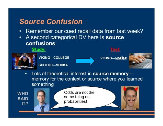 • Remember our cued recall data from last week? • A second categorical DV here is source confusions: • Lots of theoretical...