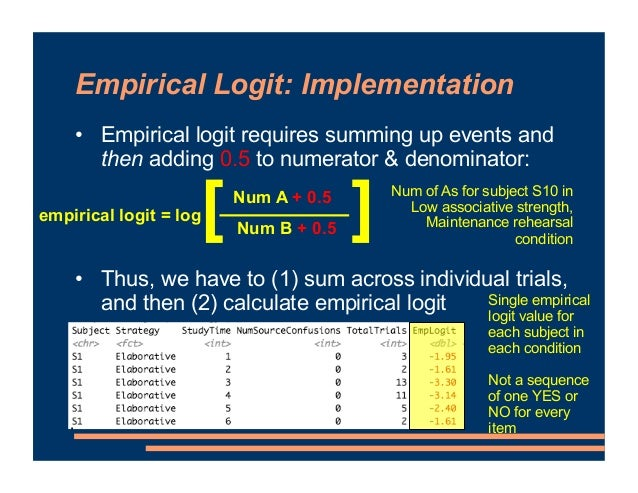 Empirical Logit: Implementation • Empirical logit requires summing up events and then adding 0.5 to numerator & denominato...