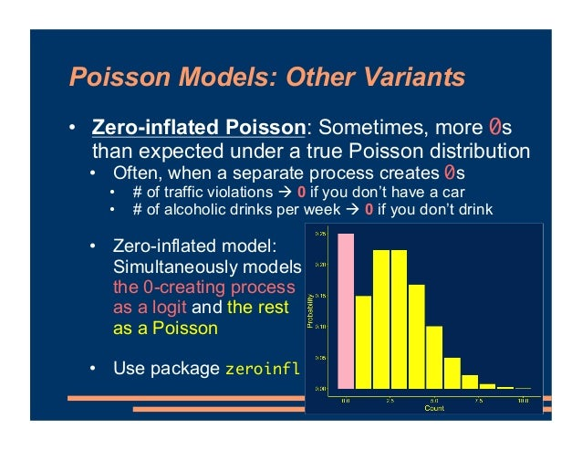 Poisson Models: Other Variants • Zero-inflated Poisson: Sometimes, more 0s than expected under a true Poisson distribution...