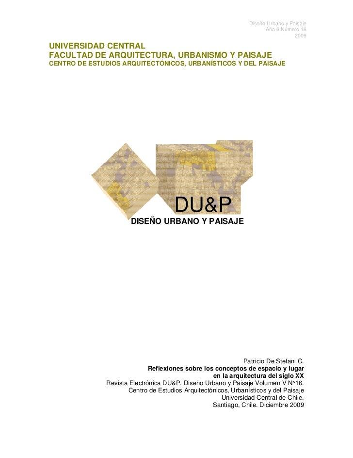 Diseño Urbano y Paisaje                                                                       o                           ...