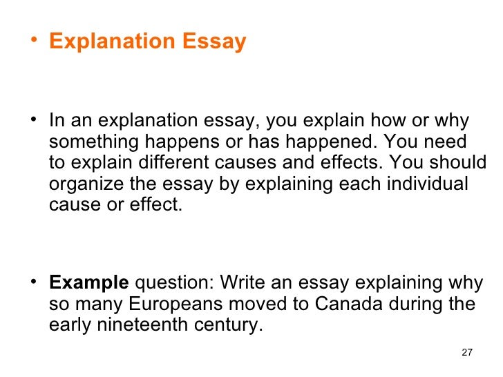 explanation essay examples What is an expository essay this can be accomplished through comparison and contrast, definition, example, the analysis of cause and effect, etc.